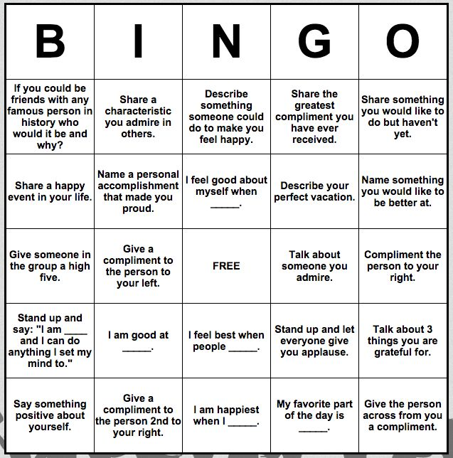 Self-esteem Bingo…