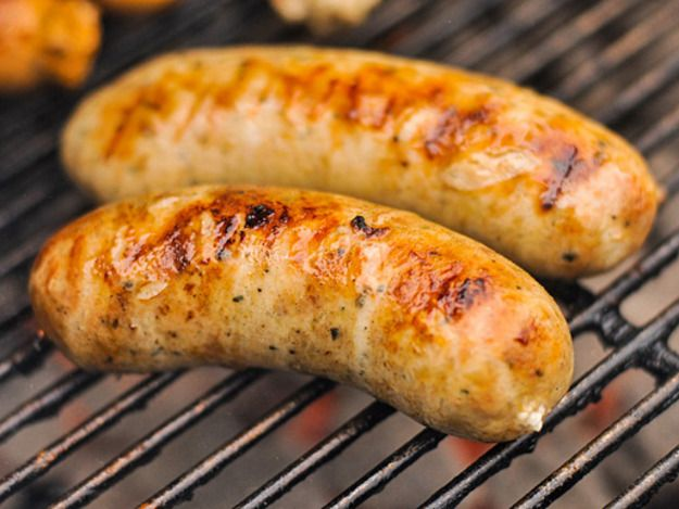 I've had the most success with chicken sausages, like this one for roasted garlic and feta chicken sausage. It's a nod to my Greek dominated neighborhood of Astoria, New York. Garlic and feta do most of the work in flavoring this chicken sausage.