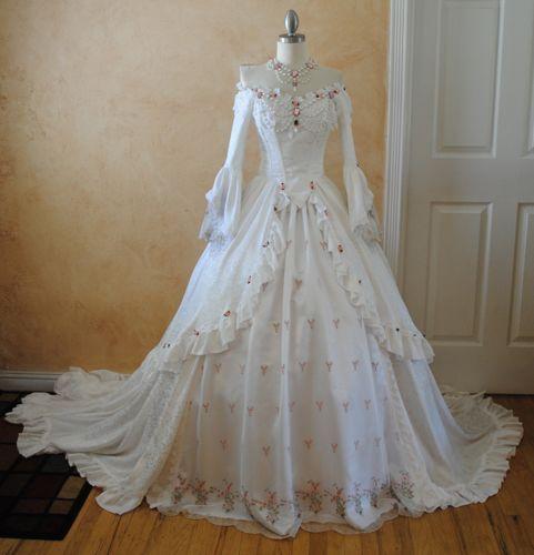Victorian Dresses  | Elegant White Off Shoulder Victorian Wedding Dress