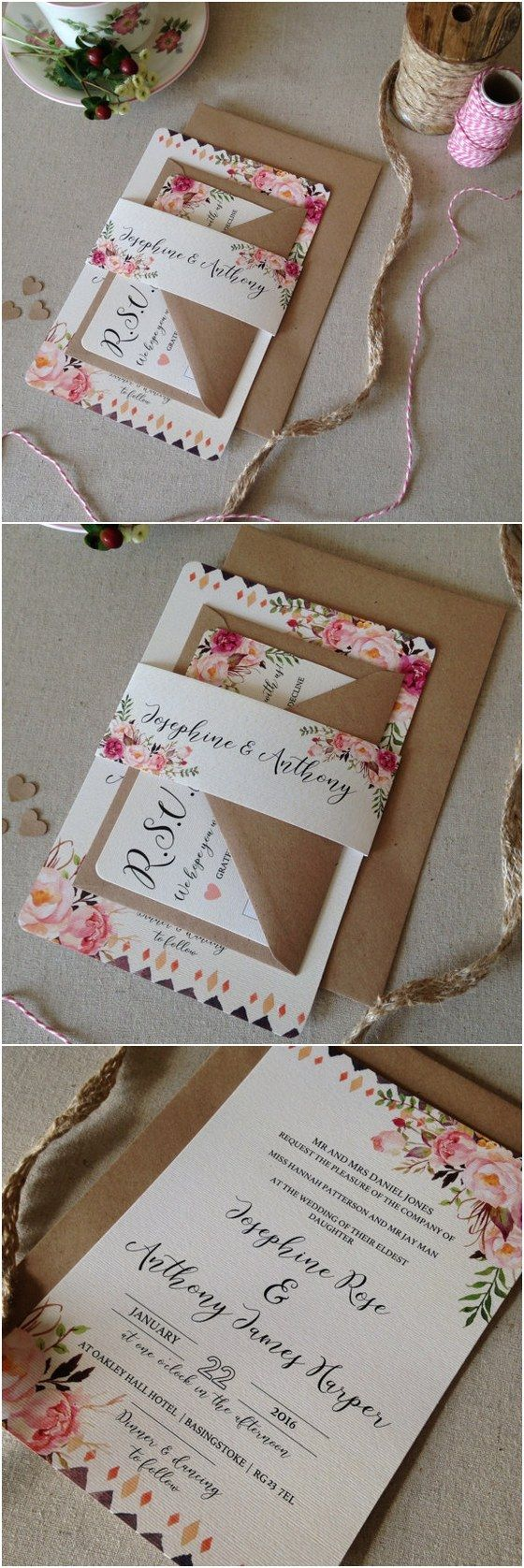 Floral rustic Wedding Invitation with matching RSVP - Rustic Wedding Invites