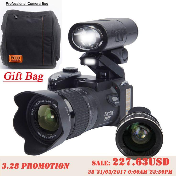 Protax d7300 dijital kameralar 33mp profesyonel dslr kameralar 24x optik zoom telephotos & 8x geniş açı lens led spot tripod