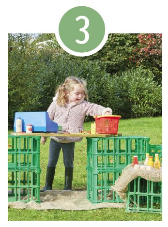 Real Life Scenarios  Will it be a shop, a market stall, a kitchen or even an office? All you need are these versatile crates, your favourite role play accessories and a little imagination.