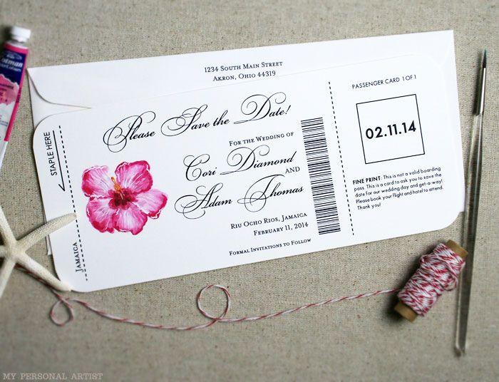 save the date lesbian wedding invites Hawaii | Airline Ticket Wedding Save the Dates Hibuscus Design * Mospens Studio