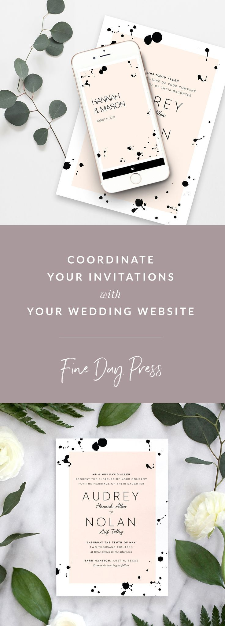 wedding invitation templates in telugu%0A Coordinate Invitations with your Wedding Website with Fine Day Press and  Appy Couple