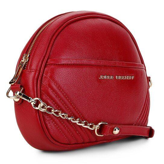 aceb98ddb6 Bolsa Couro Jorge Bischoff Transversal Alça Gorgorão Feminina - Vermelho # bolsas #compredequemfaz #bolsa