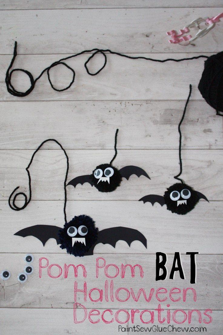 Pom Pom Bat Halloween Decorations