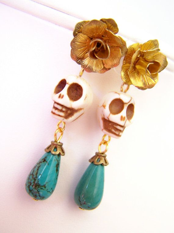 Dia de Los Muertos Drop Earrings, Skull Post Earrings with Turquoise Dangles, Day of the Dead Gold Brass Flowers & Stone Skull Beads