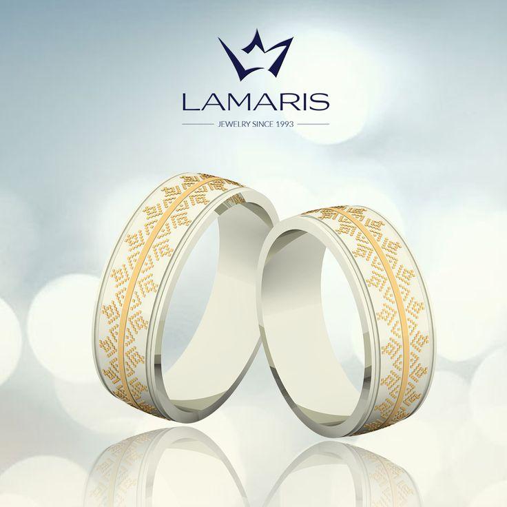 Verighete din aur alb si galben cu motive traditional romanesti.