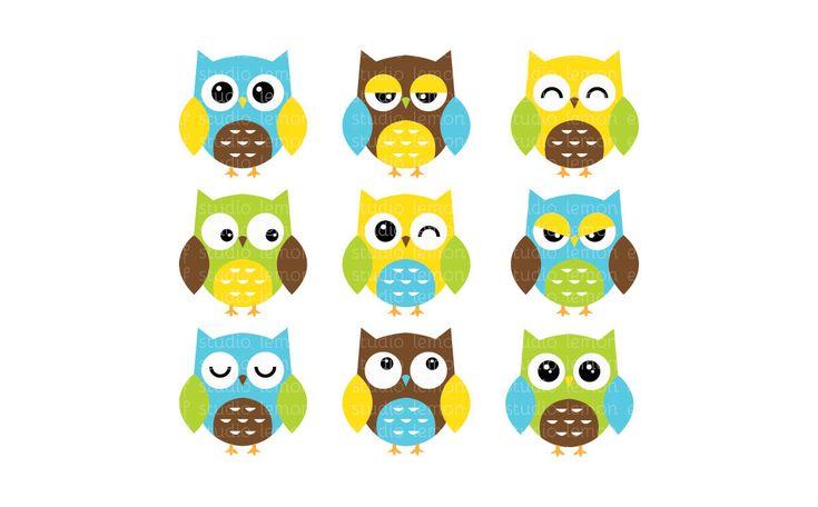 Expressive Owls-Digital Clipart (LES.CL02A) By Lemon Elf ...