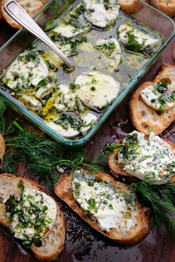 Herbed Goat Cheese served with crostini is a simple appetizer that can be put together in no time!