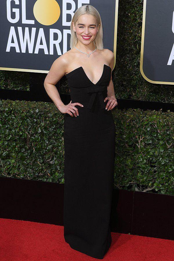 Best Dressed at the Golden Globes 2018: All the Stars in Black - Emilia Clarke in Miu Miu