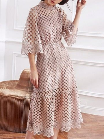 Pink Two-piece Cutwork Lace Midi Dress