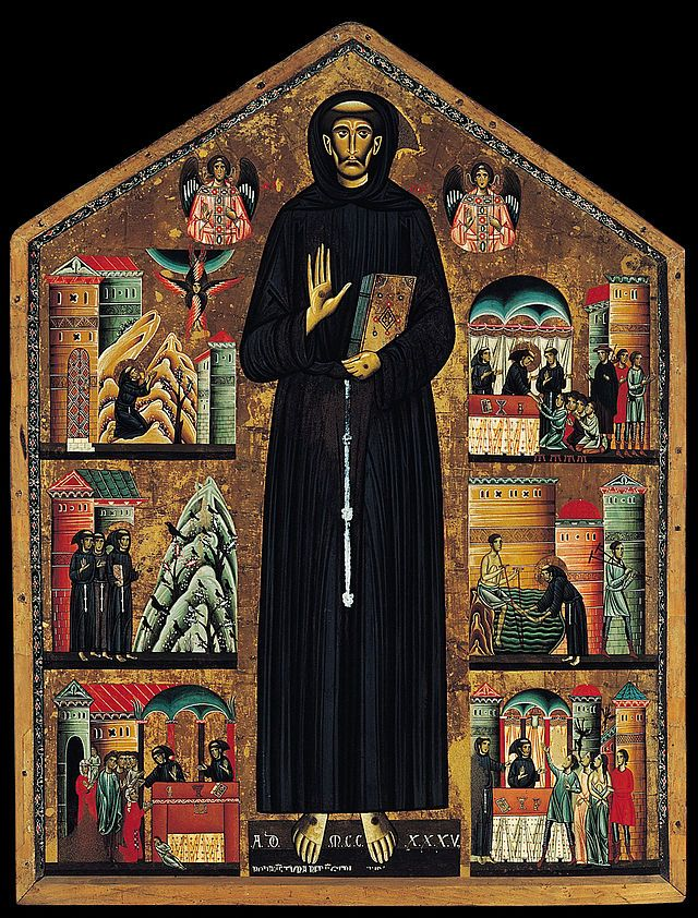Francis of Assisi, depicted by Bonaventura Berlinghieri in 1235, founded the Franciscan Order