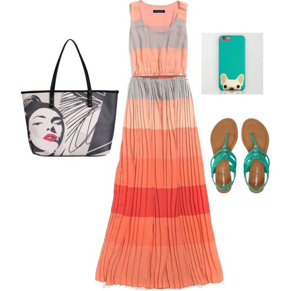 Coral+green+gray by clers2009 on Polyvore featuring мода, Tommy Hilfiger, Aéropostale and Kensie