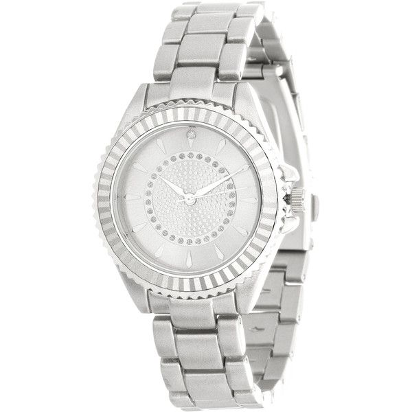 Women's Fortune NYC Women's Real Diamond Dial Watch with Stainless... ($15) ❤ liked on Polyvore featuring jewelry, watches, grey, jewelry & watches, women's watches, formal jewelry, diamond watches, diamond jewellery, stainless steel watches and diamond jewelry
