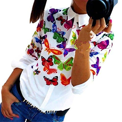 Women Blouse Haoricu 2016 Fall Winter Women Colorful Butterfly Tops Long Sleeve Shirt Casual Blouse L Multicolor >>> More info could be found at the image url.