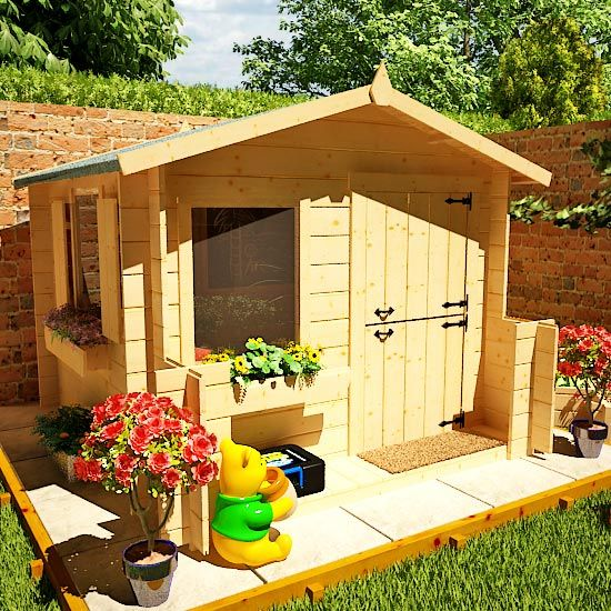 Mad dash junior log cabin wooden playhouse wooden for Garden playhouse plans
