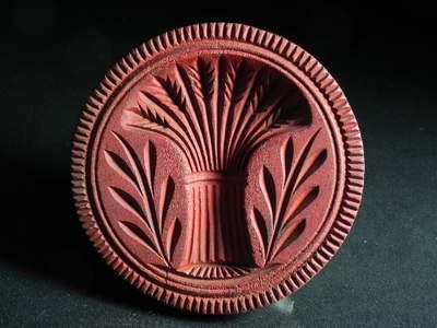 Antique Carved Wood Butter Stamp Mold Sheaf of Wheat Red