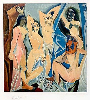 Les Demoiselles d'Avignon (The Young Ladies of Avignon), 1953 a color lithograph by Pablo Picasso at Masterworks Fine Art.