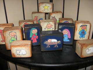 Nativity Blocks. Love this idea! Super easy too. She used stickers and ModPodged over them.