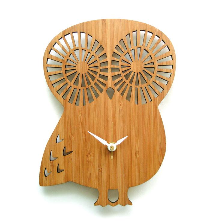 Modern Owl Wall Clock 184 best Laser