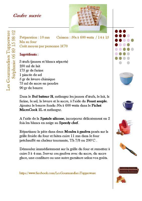 Gauffrier tupperware recettes recherche google gaufres - Recette de gaufre sans beurre ...