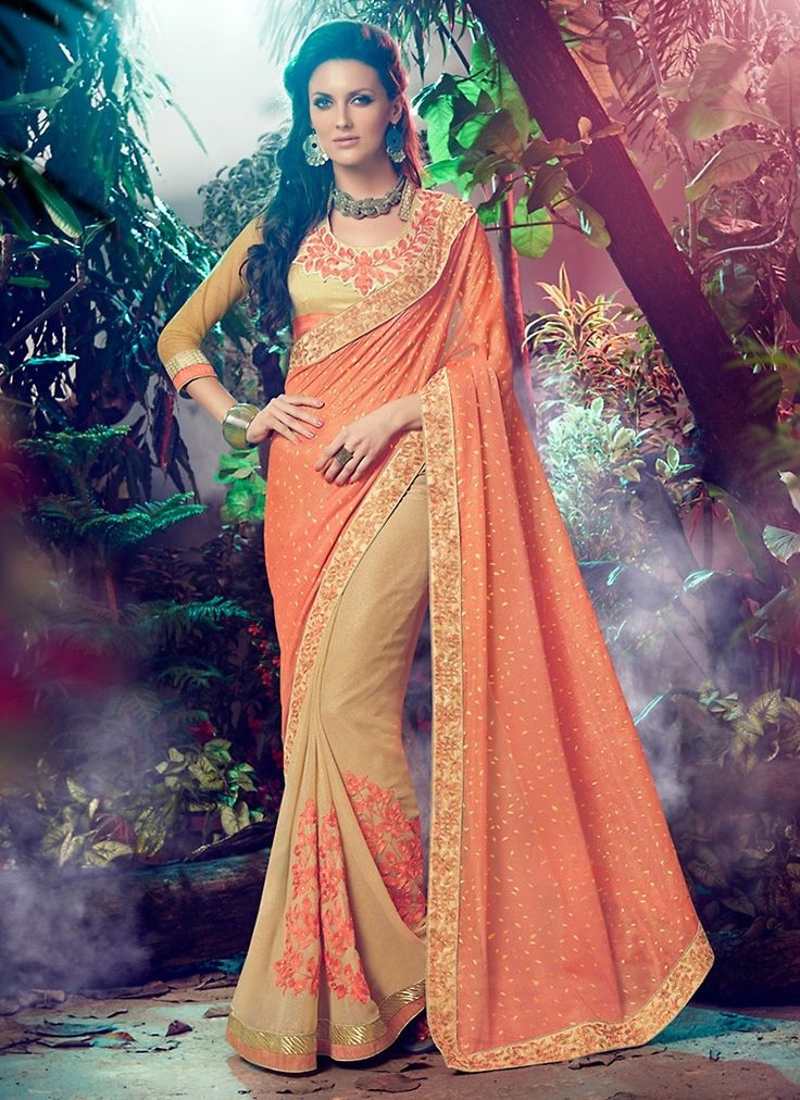 Add grace and charm on your look in this stunning Apricot Georgette Saree. The…