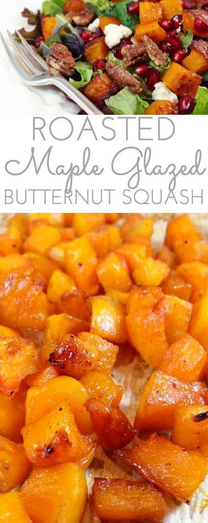 Maple Glazed Roasted Butternut Squash: yummy side dish that'll have you craving butternut squash morning, noon and night! Deliciously addictive.