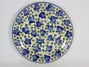 """Violets"" Polish stoneware dinner plate. By WR Ceramika."
