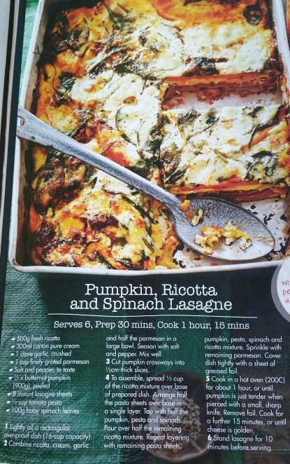 Pumpkin ricotta and spinach lasagna