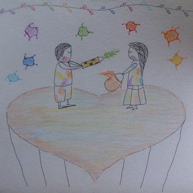 Hand drawn illustration using pen and colour pencils...Happy Holi everyone!! Go colour the world!! #art #illustration #sketch #drawing #artwork #doodle #holi #happyholi #colors #color #illustrationoftheday #artoftheday #doodle #happiness #girl #boy #colourtheworld #india #bangalore #chennai #mumbai #pune #delhi #goa #hyderabad #picoftheday #linework #penart #mystaedtler