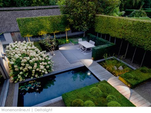 Contemporary formal garden design. Pinned to Garden Design by BASK Landscape Design.