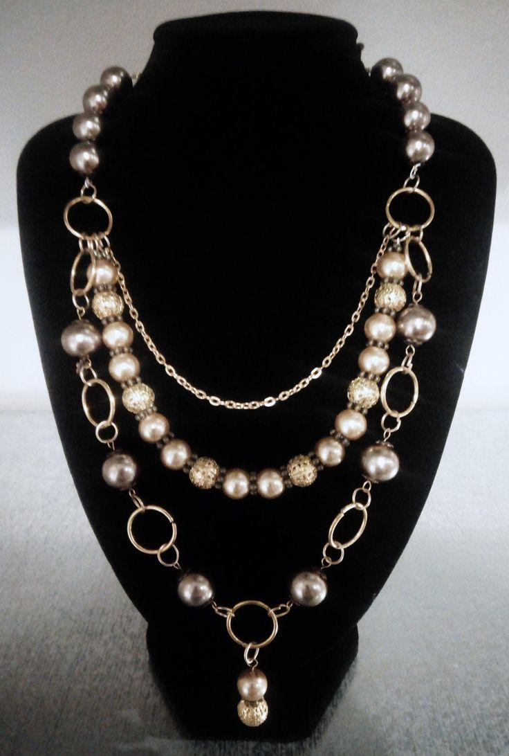 Golden bead triple necklace