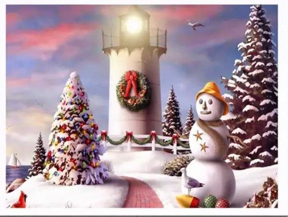 2020 Christmas Winter Diamond Painting Kit US Seller. 30x40cm Festive Lighthouse Christmas Snowman | Etsy in