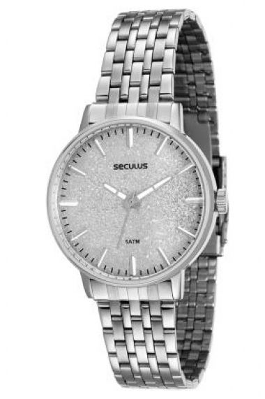 90001L0SVNA3 Relógio Feminino Prateado Seculus Glamour