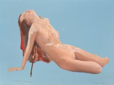 "Saatchi Art Artist Martin Sjardijn; Painting, ""Nude on Blue 2017"" #art"