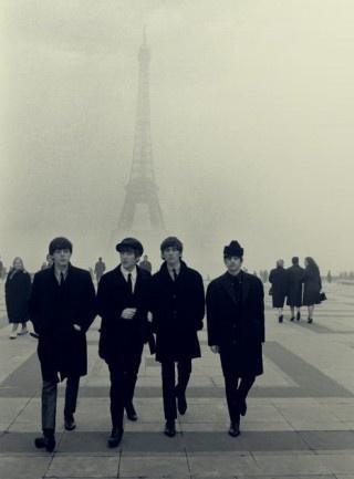 Beatles in Paris   eiffel tower   france   UK rock n roll   music   icon   black suits   winter   fog   walk  