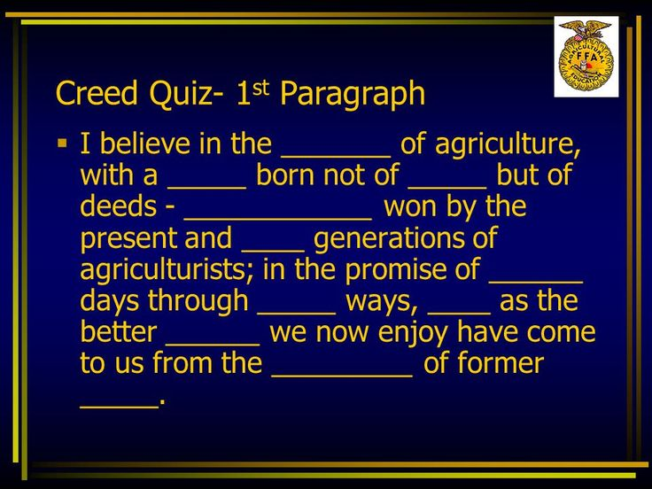 ffa creed first paragraph of essay