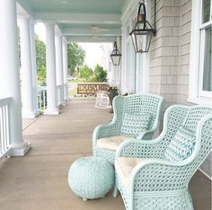 Painted Outdoor Furniture: The designer bought the chairs at Pier One a few years ago, and then painted them. They were dark brown, but they look so much prettier in Aqua. The furniture was painted in Sherwin Williams Waterscape in semi gloss. #Paintedfurniture #Paintedpatiofurniture #SherwinWilliamsWaterscape Artisan Signature Homes. Interiors by Gretchen Black.
