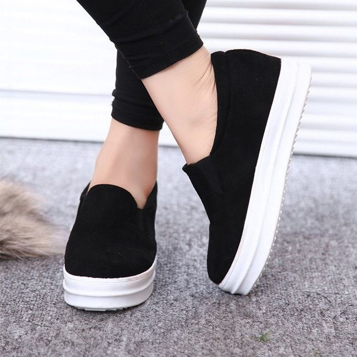 Hidden Wedge Lady New Sneaker Platform Flat Sport Creeper Shoes Trainer Slip  On #Unbranded