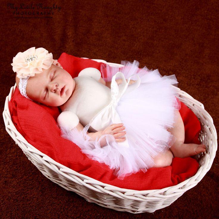 Baby tutu 0-3 photo prop Newborn infant girl  picture photo shoot  costume white skirt +  floral Headband baby shower gift