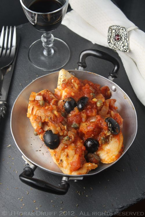 """Post image for Chicken with tomato, olives and capers from """"Hazan Family Favourites"""""""