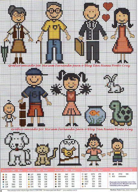 Olha só os adesivinhos da família feliz agora em ponto cruz para serem bordados. Bem bonitinhos, né?