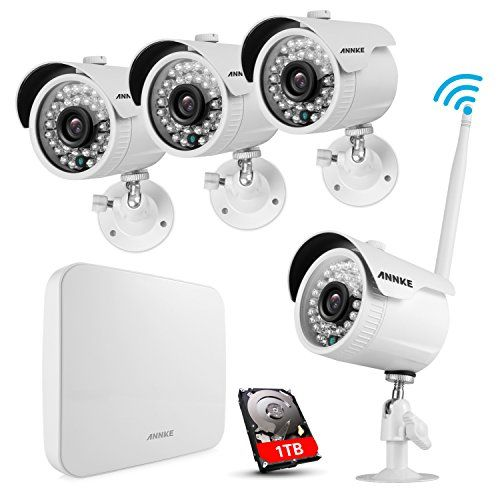 ANNKE 960P WiFi NVR and (4) 1280TVL Wireless Outdoor IP Cameras 1.0MP CCTV Camera System, 100ft (30m) Night vision, 1TB HDD, Remote View & Smart Motion Detection