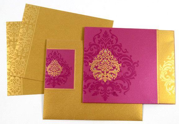 Deep Pink & Gold Wedding Cards by Cardeva  @Cardeva #Cardeva #WeddingCards