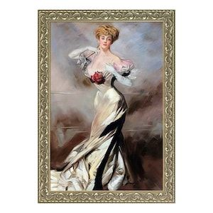 "GVB5820-FR-N11624X36 ""Portrait of the Countess Zichy, 1905"" by Giovanni Boldini, Hand-Painted Framed Art"