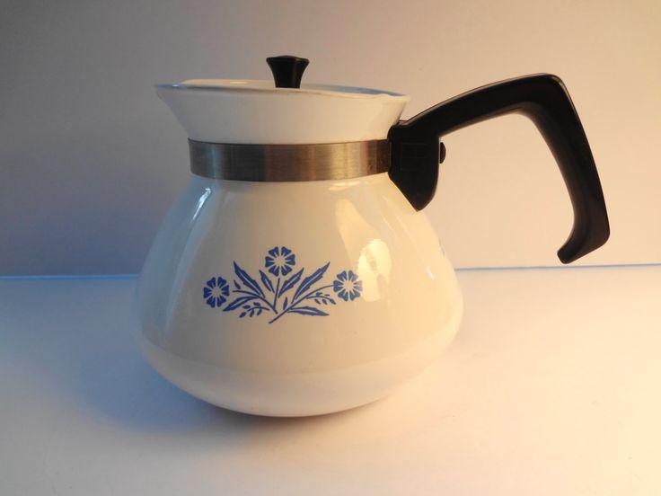 Corning Ware Blue Cornflower 6 cup teapot lid  P-104 Vintage 1970s by TresTresInteressant on Etsy