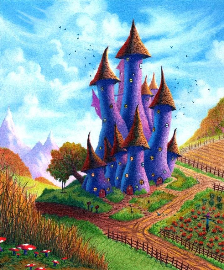 Fantasy Art Gnome Whimsical Mushroom Castle Colored Pencil