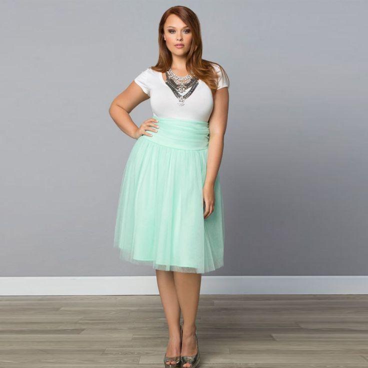 2016 Plus Size Szyfonowa Imperium Krótki Kobiety Spódnice Custom Made Dla Puszystych Kobiet długość Linii Kolan Spódnice(China (Mainland))