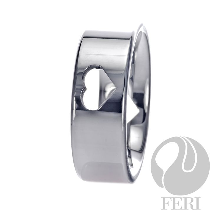FERI Tungsten Hearts - Ring - Tungsten ring - Set with a heart shape - Dimension: 8mm (Width)  FERI Tungsten, Plangsten and Hi-Tech Ceramic collections are unique with deep luster from within. The flawless features and indestructible nature of FERI Tungsten, Plangsten and Hi-Tech Ceramic pieces will create an everlasting beauty and confidence.  www.gwtcorp.com/ghem or email fashionforghem.com for big discount